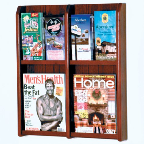 DMD Magazine Rack and Literature Display, Wall Mount, Holds 4 Magazines or 8 Brochures, Mahogany Wood Finish