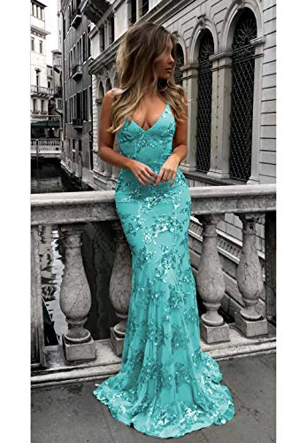 Sexy Spaghetti Strap Mermaid Evening Dresses Long V-Neck Backless Prom Party Gown for Women Turquoise