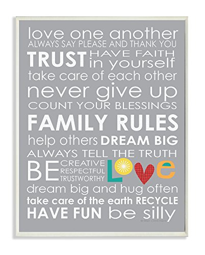 The Kids Room by Stupell Love One Another Family Rules on Grey Background Rectangle Wall Plaque by The Kids Room by Stupell