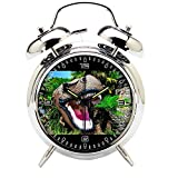 Children's Room Silver Dinosaur Silent Alarm Clock Twin Bell Mute Alarm Clock Quartz Analog Retro Bedside and Desk Clock with Nightlight-197.302_Animal, Dinosaur, Reptile, Jurassic, Monster, Predator
