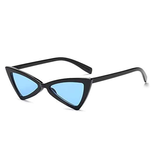 fa04a1aa27f06 Amazon.com  Retro Thin Triangle 90 s Trend Cat Eye Vintage Sunglasses  Narrow Fashion Clout Skinny Shades (Black + Blue Tinted Lens)  Clothing
