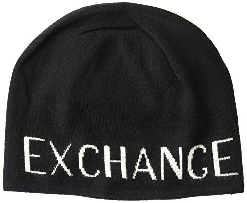 Armani Exchange Men's Knit Armani Logo Beanie, Black, One - Hat Armani Exchange Black