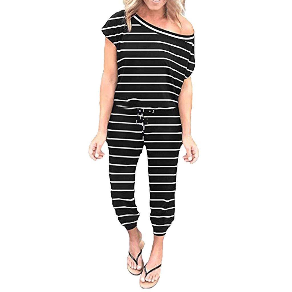 Women One Shoulder Jumpsuits Stripes Short Sleeve Long Loose Fit Overalls Summer Elastic Waist Jumpsuit Rompers
