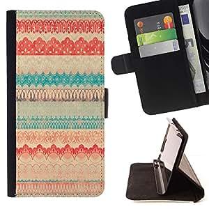 For Samsung Galaxy S6 Case , Del modelo del vintage Edredón Ilustración del paño textil- la tarjeta de Crédito Slots PU Funda de cuero Monedero caso cubierta de piel