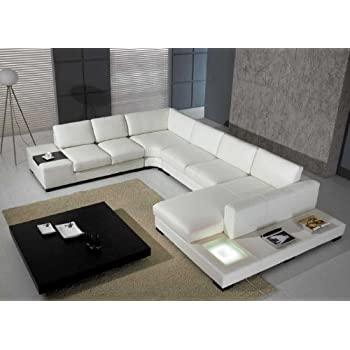 T35 - White Bonded Leather Sectional Sofa Set with Light  sc 1 st  Amazon.com : leather sectional sofas with chaise lounge - Sectionals, Sofas & Couches