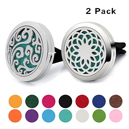 2PCS COOHAA Car Fragrance Diffuser Vent Clip Car Air Freshener Perfume Clamp Aromatherapy Essential Oil Diffuser Stainless Steel Locket with Vent Clip and 14 Oil Refill Pads