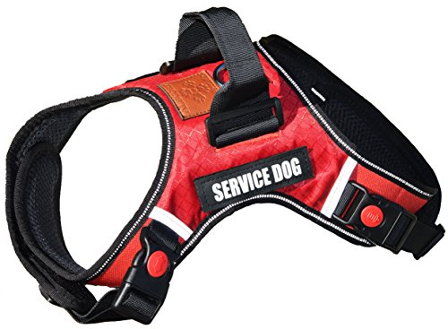 ALBCORP Reflective Service Dog Vest Harness, Woven Nylon, Neoprene Handle, Adjustable Straps, with Comfy Mesh Padding, and 2 Hook and Loop Removable Patches, Large, Red by ALBCORP