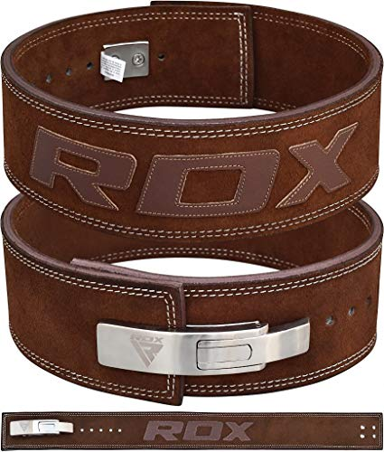 RDX Powerlifting Belt Lever Buckle Cow Hide Leather 10mm Single Prong Weight Lifting Workout Gym Fitness Exercise Bodybuilding by RDX (Image #1)