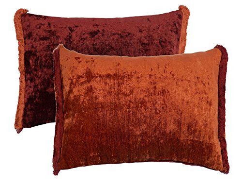 TWO TONE REVERSIBLE CHENILLE FRINGED ORANGE RED 35X50 BOUDOIR CUSHION COVER PILLOW CASE SHAM ()