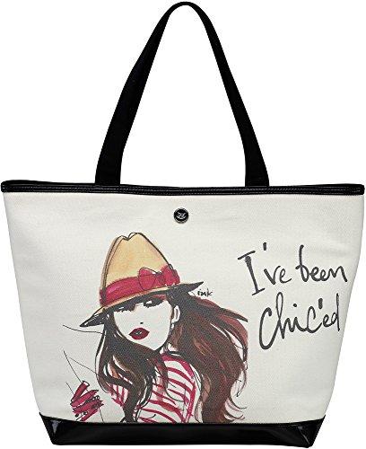 "16"" Black And Cream Fashion Large Canvas Tote Bag Pavilion Gift Company"