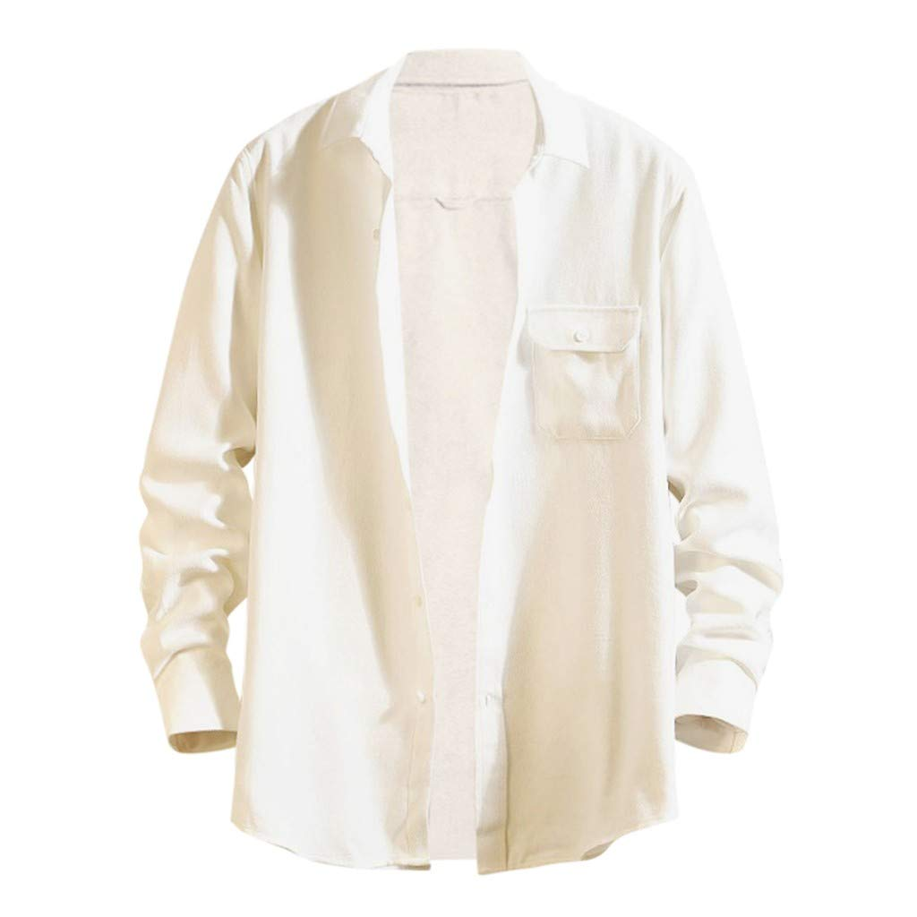 WINJUD Mens Shirt Solid Pocket Regular-fit Tops Long-Sleeve Turn-Down Collar Casual Top White by WINJUD