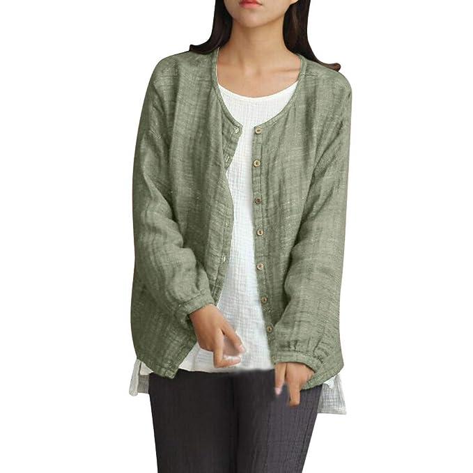 0d4bbb486 Women's Sweatshirt Coat JacketMoonuy Ladies Cotton and Linen Solid Color  Cardigan Button Jacket Blouse Sweatshirt Coat Casual Outdoor Overcoat Autumn  Winter ...