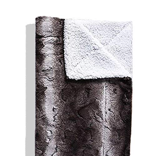 (Faux Fur King Size Bed Blanket | Super Soft Fuzzy Lightweight Design | Luxurious Cozy, Warm, Fluffy, Plush Blanket for Bed or Couch | Dark Gray/Black)