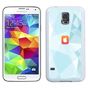 Easy use Cell Phone Case Design with iOS8 Light Blue Triangles Apple Logo Galaxy S5 Wallpaper in White