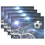 Hokkien Blue Viper Soccer Goals Placemat Heat-resistant Stain Resistant Polyester Fabric Tray Mat for Kitchen Dining Table 12 x 18 inch Set of 4