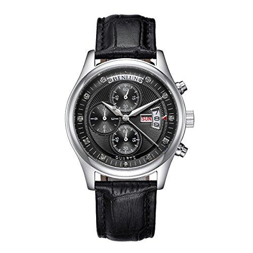 Binlun-Mens-All-Black-Japanese-Waterproof-Quartz-Watch-with-Perpetual-Calendar-Stopwatch-Chrono-Function