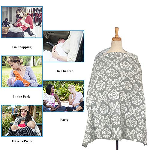 Pasway Nursing Cover for Breastfeeding with Free Pouch - Cotton Apron Cover Up for Feeding Baby (F) by pasway (Image #4)