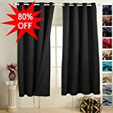 """EMONIA Blackout Curtains for Bedroom & Living Room Darkening - (black, width x length:52""""x63"""", 2 panels) Window Drapes - Thermal Insulated Grommet Shades Curtain to Black out Light"""