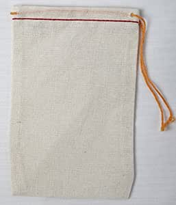 Cotton Muslin Bags 3x5 Inch (7x12 Cm) Red Hem and Orange Drawstring 25 Count Pack