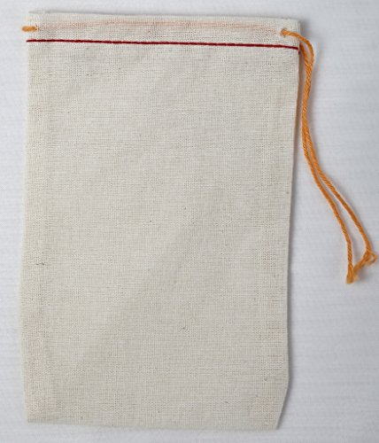 Cotton Muslin Bags 3x5 Inch (7.7x12.75 Cm) Red Hem and Orange Drawstring 50 Count Pack