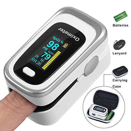 Oxygen Saturation Monitor, Wrinery Finger Pulse Oximeter Fingertip, Oxygen Monitor, O2 Saturation Monitor, OLED Portable Oximetry with Batteries, Carrying Case, Lanyard, Silver-White
