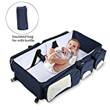 Crib and Changing Table Combo Sale Baabyoo Baby Travel Bed Bag Baby Diaper Bag Portable Baby Diaper Change Station 4 in 1 Folding Baby Bag Newborn Carrier Infant Bassinet Baby Tote Bag Folding Crib Baby Shower Gift (Royal Blue)