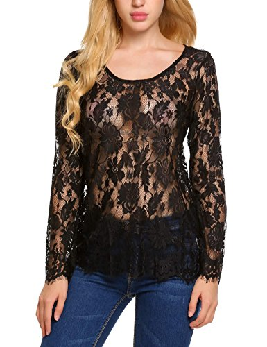 Zeagoo Womens Plus Size Party See Through Lace Mesh Blouse Top Black XX-Large