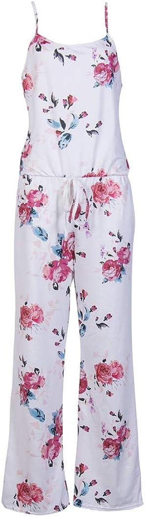 Stylish Women Summer Floral Spaghetti Strap Sleeveless Summer Woman Romper Jumpsuit Long Wide Leg Pants