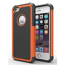 iPhone 6/6s Plus Case,Hankuke Hybrid Dual Layer Full Body Shock Proof Protcetive Armor Defender Cover Case for iPhone 6/6S Plus (5.5 inch screen) - black+orange