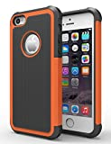iPhone 5/5S Case, Hankuke Shock Absorption/High Impact Resistant Hybrid Dual Layer Armor Defender Full Body Protective Cover Case for iPhone 5/5S - black+orange