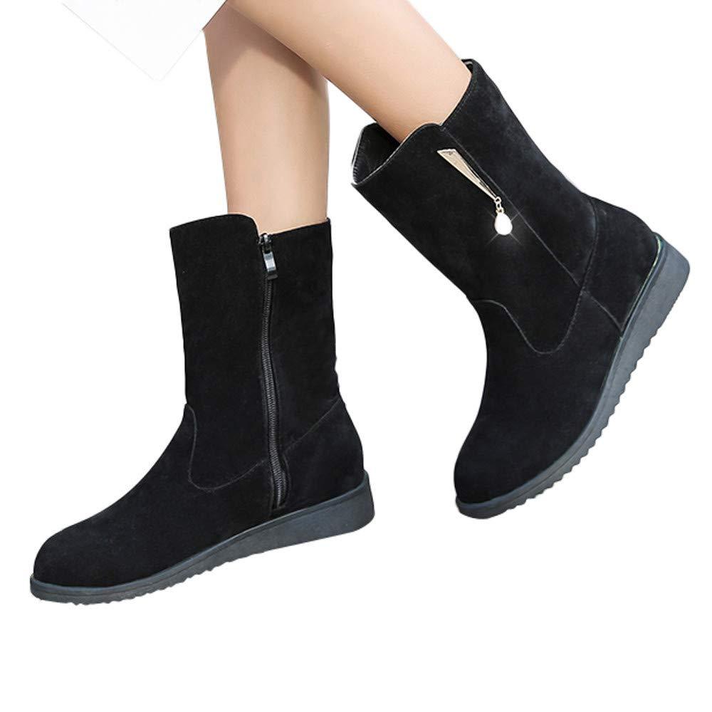 ❤️ Botas de Mujer de Invierno Planas, Botines de Diamantes de imitación de Tubo Medio Botas de Gamuza Martin Boots Botas de Bota de Cremallera a Mediados de Botas Absolute