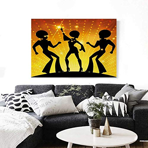 70s Party The Picture for Home Decoration Dancing People in Disco Night Club with Afro Hair Style Bokeh Backdrop Customizable Wall Stickers 24