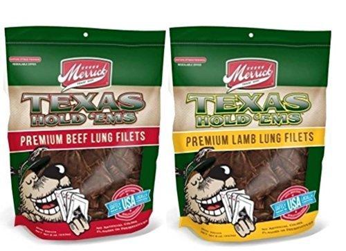 Merrick Texas Hold 'Ems Premium Lung Filets Dog Treats 2 Flavor Variety Bundle: (1) Merrick Texas Hold 'Ems Premium Beef Lung Filets, and (1) Merrick Texas Hold 'Ems Premium Lamb Lung Filets, 8 Oz. Ea