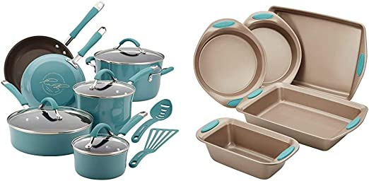 Rachael Ray Cucina Nonstick Cookware Pots and Pans Set, 12 Piece, Agave Blue & Cucina Nonstick Bakeware Set with Grips includes Nonstick Bread Pan - 5 Piece, Latte Brown with Agave Blue Handle Grips