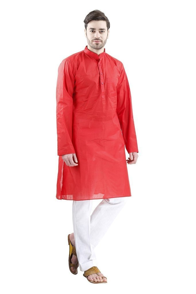 Royal Kurta Men's Fine Cotton Kurta Pyjama Set For Occasion 44 Red