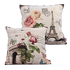 Amazon.com: Queenie - 2 Pcs of Cushion Cover Decorative Throw Pillow Case Tapestry Polyester ...