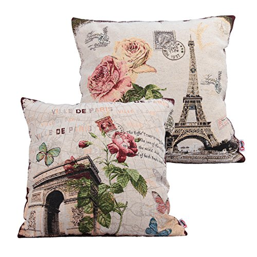 Tower Arch (Queenie® - 2 Pcs of Cushion Cover Decorative Throw Pillow Case Tapestry Polyester Pillowcase 18 X 18 Inch 45 X 45 Cm (Eiffel Tower & Arch of Triumph Bundle Set))