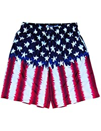 American Flag Tie Dye Sublimated Lacrosse Shorts, Red White-Blue, Large