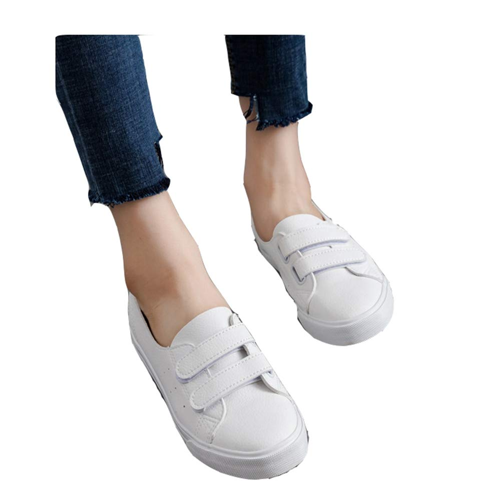 Womens's Fashion Flat Running Sports Sneakers Canvas White Slip On Loafers Ladies Casual Walking Shoes