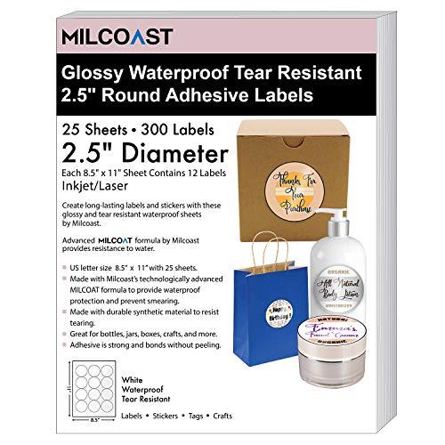 - Milcoast Glossy White Waterproof Tear Resistant Blank Adhesive 2.5