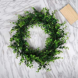 Karooch DIY Simulation Artificial Wreath Wall-Mounted Ornament Rose Eucalyptus Leaves Green Plant Burlap Garland Window Door Hanging Decor for Wedding Ceremony Party Home Garden (Green Plant) 2