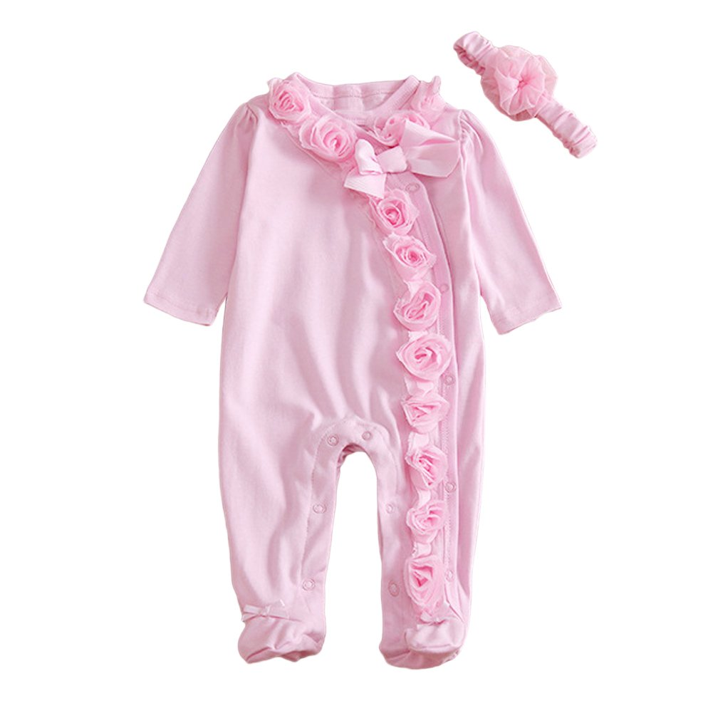 MIOIM Newborn Baby Girls Cotton Bodysuit Lace Flower Romper Front Buttons Jumpsuit SKA1081