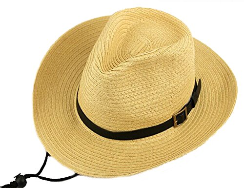 Cotton Chin Cord (Men's Floppy Packable Straw Hat Beach Cap Classic Western Newsboy Cap Fedora Hat UPF 50+ Roll Up Foldable Large Brim Outback Sun Hat with Adjustable Chin Cord Strap Outdoor Fishing Cap Safari Hat)