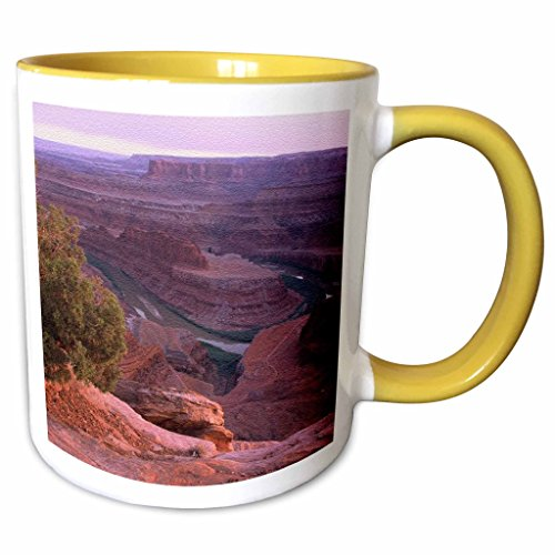 3dRose Sandy Mertens Utah - Canyon Lands Dead Horse Point State Park - 15oz Two-Tone Yellow Mug (mug_156528_13)
