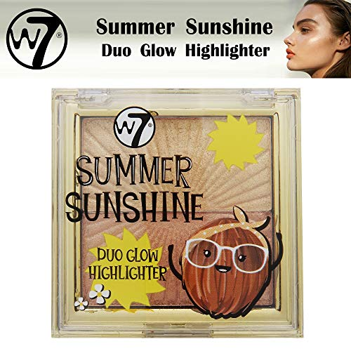 W7 Cosmetics Summer Sunshine Duo Glow Highlighter Palette Shimmer Shades