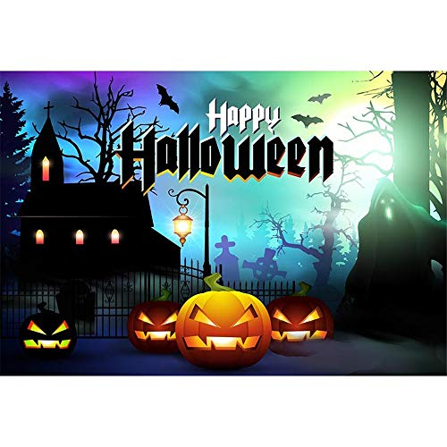 ML 7x5ft Photo Background Backdrop Black Haunted House with Pumpkin Halloween Backdrops for Photographers Custom Kids Party Pictures