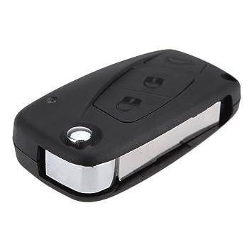 SODIAL(R) 3 botones Cubierta de llave Caja de llave Llavero Cascara de llave sin llave remoto plegable para FIAT Punto Ducato Stilo Panda - Negro