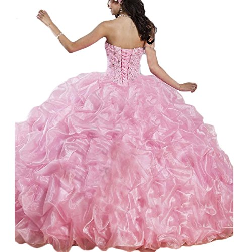 4369dcdc7a9 Thrsaeyi Women s Sweetheart Puffy Quinceanera Dresses Pink Princess Ball  Gown Formal Prom Party Pageant Wedding Dresses