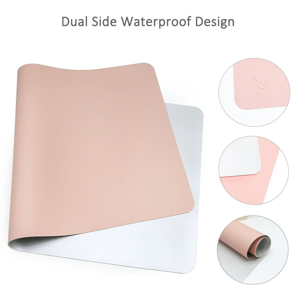 Desk Pad Protecter, Mirstan 31.5'' x 15.8'' PU Leather Large Office Desk Writing Mat Mousepad Waterproof, Dual Sides for Use (Pink&Gray) by Mirstan (Image #5)
