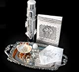 Spanish Handmade Christening/Baptism Cross Silver Set For Girl, Boy, or Unisex : Candle, Bible, Dry Cloth, Sea Shell, Rosary and Holy Water Bottle Silver Tray–Bautizo Religious Gift (Silver)